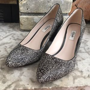 Brand New Clarks Mohair Black and White Pumps